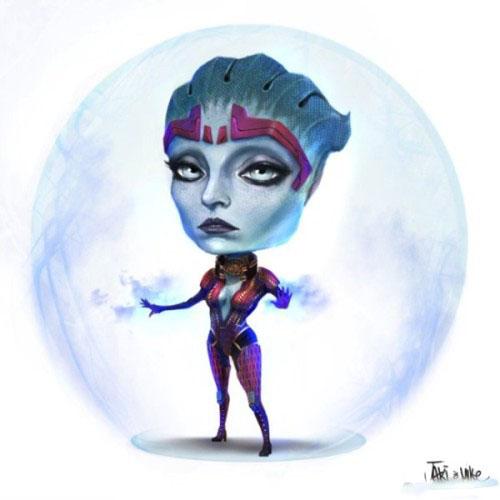 《质量效应》大头娃娃手绘欣赏 超Q版主角萌萌哒