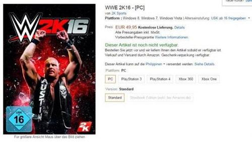 亚马逊:《WWE2K16》PC版即将发售 或包含全部DLC