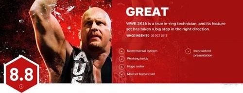 《WWE2K16》IGN 8.8分!扶我起来,我还要摔一局