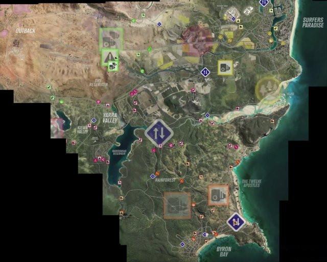 《极限竞速地平线3》地图一览 完整拼接大地图